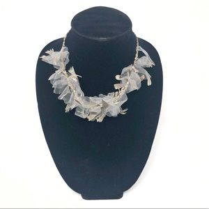 ANTHROPOLOGIE Feather Tulle Statement Necklace